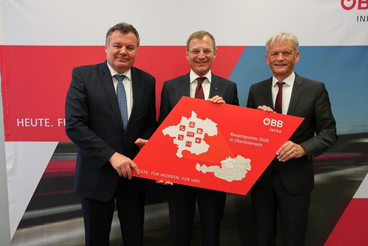 Landesrat Steinkellner Landeshauptmann Stelzer ÖBB-Vorstand Bauer